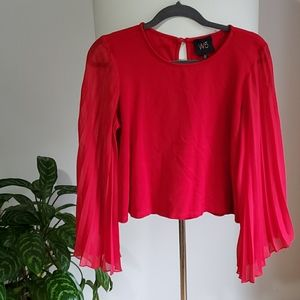 💥HOST PICK🆕️W5 Red sheer red sleeve top